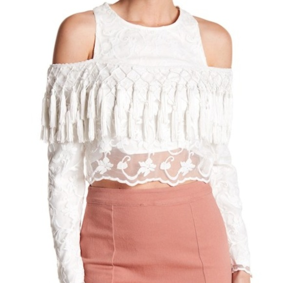 21acd1a3cae37a Gracia Tops | New Lace Cold Shoulder Tassel Top White M | Poshmark